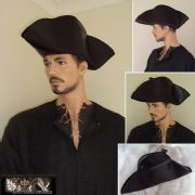 18th Century Civilian & Military Leather Tricorn Hat.